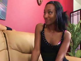 Skinny Black Chick In A Tight Dress Arouses Him